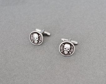 Skull Cufflinks Men's Cufflinks Gothic Vicortian Gothic Skulls Biker Statement Cufflinks Steampunk Cufflinks Antique Silver Gifts for Him