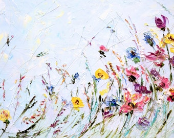 Abstract Flower Painting Custom Oil Painting Flowers Palette Knife Painting on Canvas Living Room Wall Art Bohemian Painting Lilac Painting