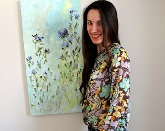 Blue Flower Painting Abstract Painting Blue Oil Painting Online Art Gallery Landscape Painting Modern Artists Custom Flowers Painting Russia