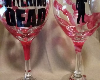 The Walking Dead set of 2 Glasses/daryl/rick/gift/