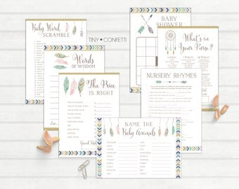 tribal baby shower games, boho baby shower games, gender neutral, bingo, the price is right, advice card, baby animals, whats in your purse