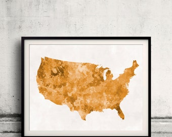United States map in watercolor orange painting abstract splatters - Fine Art Print Glicee Poster Gift Illustration Colorful USA - SKU 1214