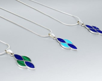 Elegant Pendant with Lapis Lazuli and Turquoise or Malachite with Sterling silver chain - inlay work - gift idea- blue and green combination