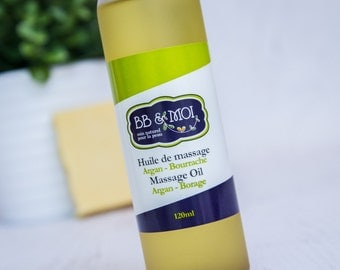 Massage Oil with antioxidant argan oil and anti-wrinkle jam and oil for skin soft and hydrated chamomile lavender