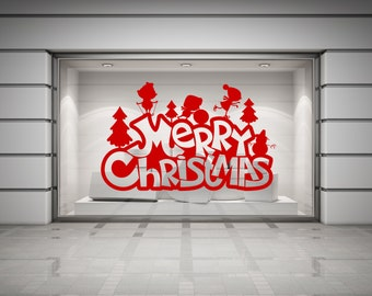 Merry Christmas & Children Playing in Snow vinyl decal sticker for walls, windows, mirrors, doors, shop fronts and more.(#59)