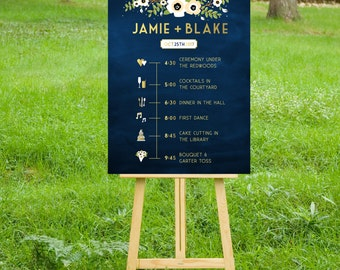 The ALYSSA . PRINT or PDF, Shipping Included. Timeline Event Icons Sign Wedding Program. Gold & Navy Chalkboard Cream Ivory Anemone Magnolia