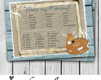 Who's My Mommy, Card, Deer, Boy, Baby Shower Game Card, Matching Animals, Rustic, Teal, Burlap, Wood, Country, Western - INSTANT DOWNLOAD