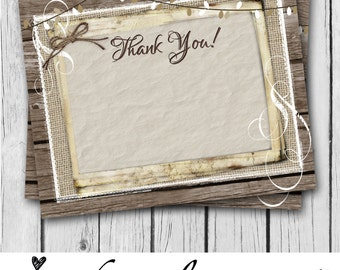 Brown, Thank You Card, 4x5, Rustic, Wood, Blank - Matching Invitation Design, Wedding, Bridal Shower, Baby Shower, Party - INSTANT DOWNLOAD!