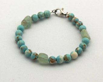 Turquoise Aquamarine Beaded Bracelet Sterling Silver Clasp