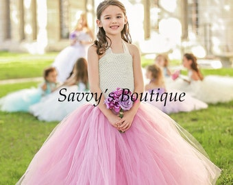 Dusty Rose Flower Girl Dress - Ivory and Rose Flower Girl Dress - Flower Girl Dress - Tutu Dress - Party Dress - Special Occasion Dress