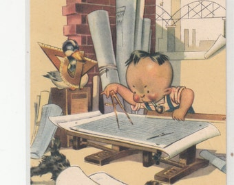 Young Architect At Work 1930s Postcard A Little Happy Clutter/Architecture