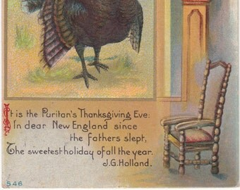 Turkey,Acorn,Grandfather Clock,A Peaceful Thanksgiving,Antique Chair,Embossed Antique Postcard
