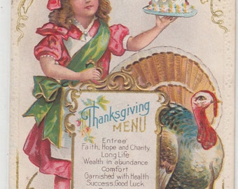 Children's Thanksgiving Menu Lots Of Gold,Turkey Next To Menu,Junior Chef Carrying Dessert,Heavily Embossed Antique Postcard