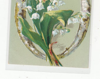 """Antique Postcard 1910 Alphabet Letter """"O"""" Lilies Of The Valley,Letter Is Wood Grained,Unused"""