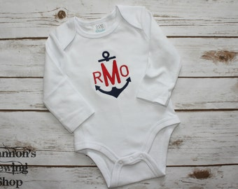 Boys Monogrammed Bodysuit, Anchor Outfit, Anchor Themed Monogram Baby Bodysuit, Baby Shower Gift, Baby Boy Gift