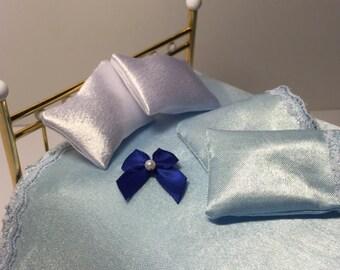 1:12 Scale Baby Blue Satin Dollhouse Bedding Full