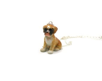 Boxer Necklace, Charm Necklace, Charm Jewelry, Boxer Pendant, Boxer Jewelry, Boxer Charm, Jewelry Gift, Ceramic Boxer Dog, Boxer Dog Charm