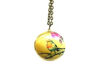 Bird Locket Necklace, Charm Necklace, Long Bronze Necklace, Memory Locket, Locket Pendant, Picture Locket Necklace, Bird Lover Necklace