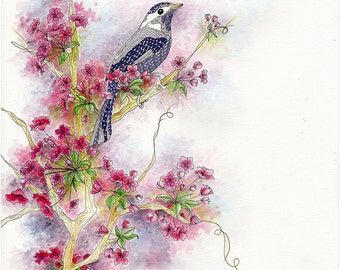 Cherry blossom painting with a blue bird. Oriental wall art as a flower watercolor print