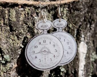 Vintage clock shrink plastic earrings