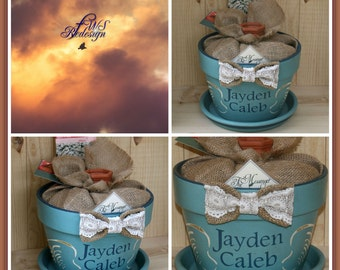 Personalized Flower Pot Painted Flower Pot Customize Planter Gift for Her Gift for Him In Memory Of Scripture Planter The Messenger Pot