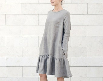 Natural linen dress with lambada skirt and side pockets. Wide linen dress. Washed soft linen dress. Women's dress.