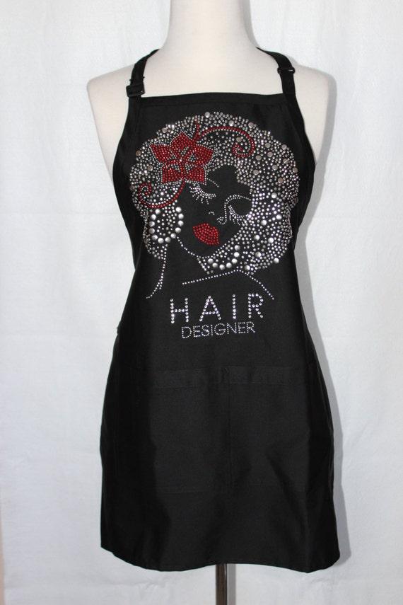 rhinestone women hair designer black apron