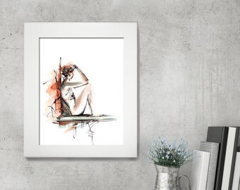 Female Figure Watercolor Print, Watercolor Painting Art Print, Woman Painting, Wall Art, Modern Home Decor