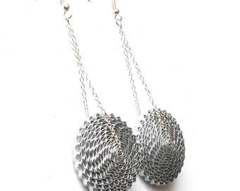 Silver Dangle Earrings, 1st Anniversary Gift, Paper Earrings, Statement Earrings, Gift for Mom, Long Chain Earrings, Paper Bead Jewelry