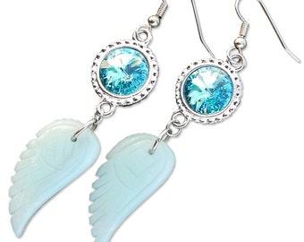 Aventurine Angel Wings Earrings with Turquoise Swarovski Crystals
