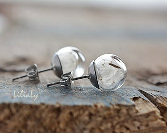 Dandelion earrings Stainless steel Hypoallergenic dandelion seed studs Dandelion glass globe post earrings Nature earrings Make a wish gift