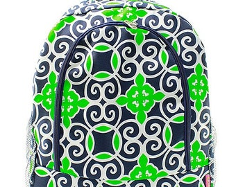 Navy Blue and Green Print Monogrammed School Backpack