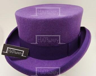 VINTAGE Wool Felt Formal Tuxedo Coachman Topper Top Hat - Purple