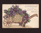 Wheelbarrow with violets, German postcard - Purple flowers, edwardian, embossed, antique postcard, vintage greeting card - 1902 (V3-14)