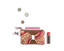 Small Wallet, Small Change Purse, Chapstick Keychain, Fabric Womens Wallet, Leather Card Holder,  College Student Gift,  Badge Holder, Cute
