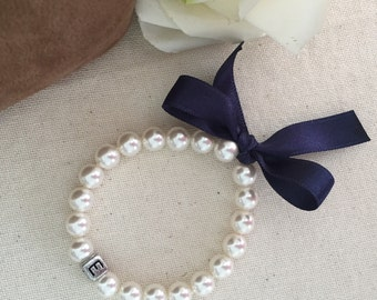 Swarovski pearl bracelet with initial and ribbon, pearl bracelet with ribbon, flowergirl bracelet, bridesmaid bracelet, pearl jewelry, pearl