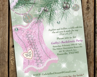 Bachelorette Invitations, Winter Bachelorette Invites, Christmas Bachelorette Invitations, Bachelorette Party
