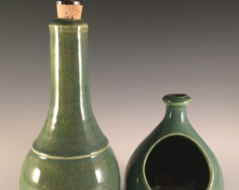 Pottery olive oil cruet, green, oil cruet, pottery,