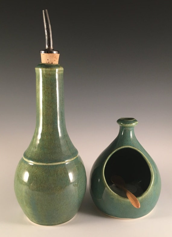 Olive Oil cruet in green