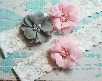 Wedding Garter, Light Pink & Gray Garter Set, Beach Wedding Garter, Lace Garter, Keepsake Garter, Toss Garter,  Garter