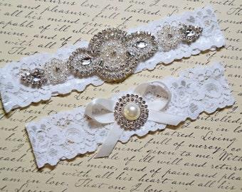Wedding Garter Set, Bridal Garter Set, Vintage Wedding, Off White Lace Garter, Crystal Garter Set - Style  535