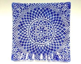 Cobalt Blue Square Serving Plate