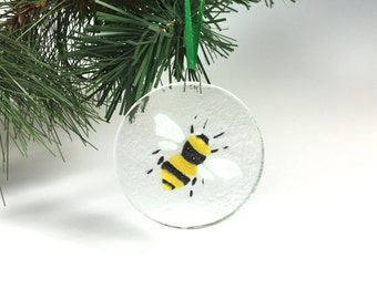 Bee Ornament Fused Glass Bumble Bee