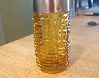 Vintage  Amber Glass Salt Shaker Golden Orange Ribbed Textured glass Mid Century