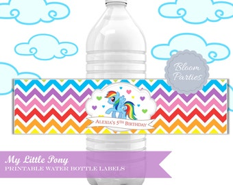 My Little Pony Water Bottle Label Rainbow Dash Pink Pony - Birthday Party Decorations Water Bottle Label, Printable DIY Chevron