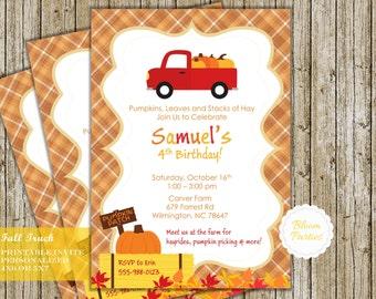 Pumpkin Truck Fall Birthday Invitation Hayride Boy Birthday Party Halloween Hay Ride Tractor Digital Printable DIY