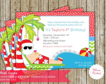 Christmas Pool Party Invitation Winter Pool Party Swimming Santa Christmas in July Swim Birthday Party Invite Digital Printable, Girl or Boy