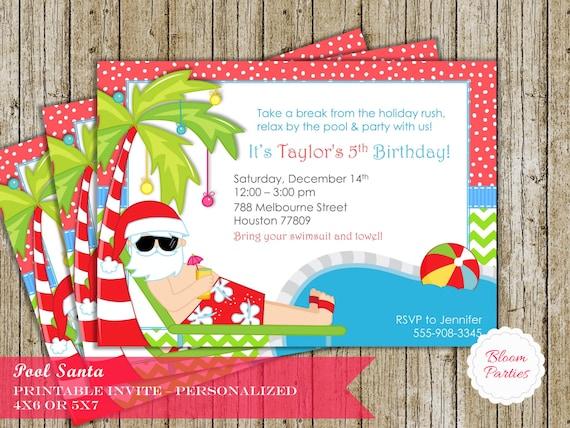 Christmas Pool Party Invitation Winter Pool Party Swimming – Winter Pool Party Invitations