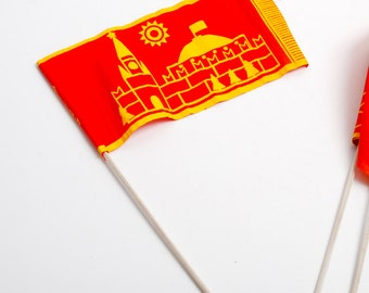 Vintage red fabric small children flag, Soviet Russia 1970-1980 communist propaganda, Moscow Red Square  (C1017)