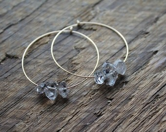 Herkimer Diamond Trio  Gold Filled Hoop Earrings